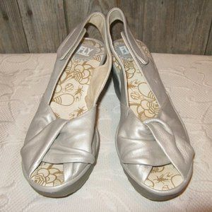 FLY LONDON Yman Metallic White Gold Wedge Sandals